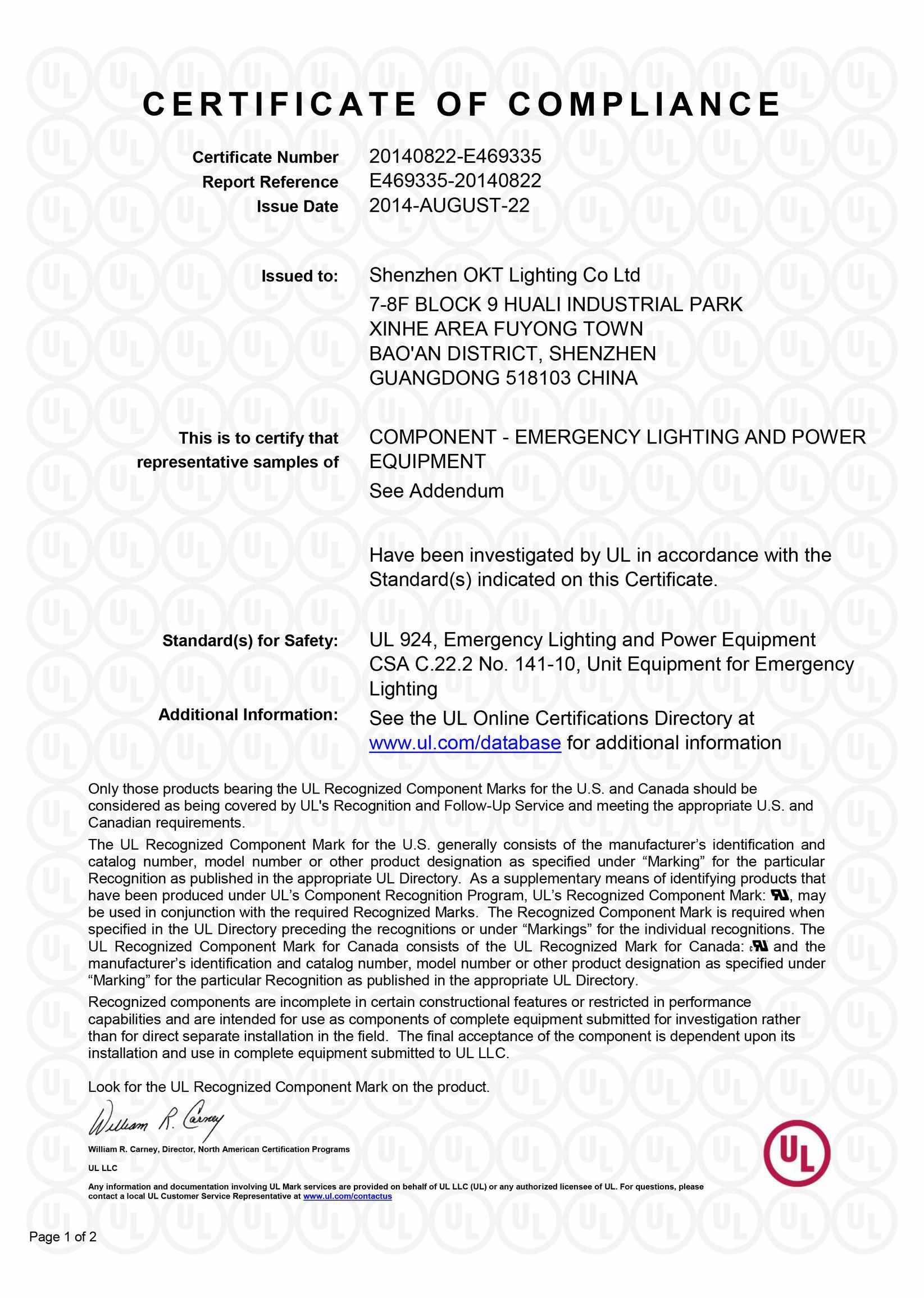 UL Certificate for LED Emergency backup