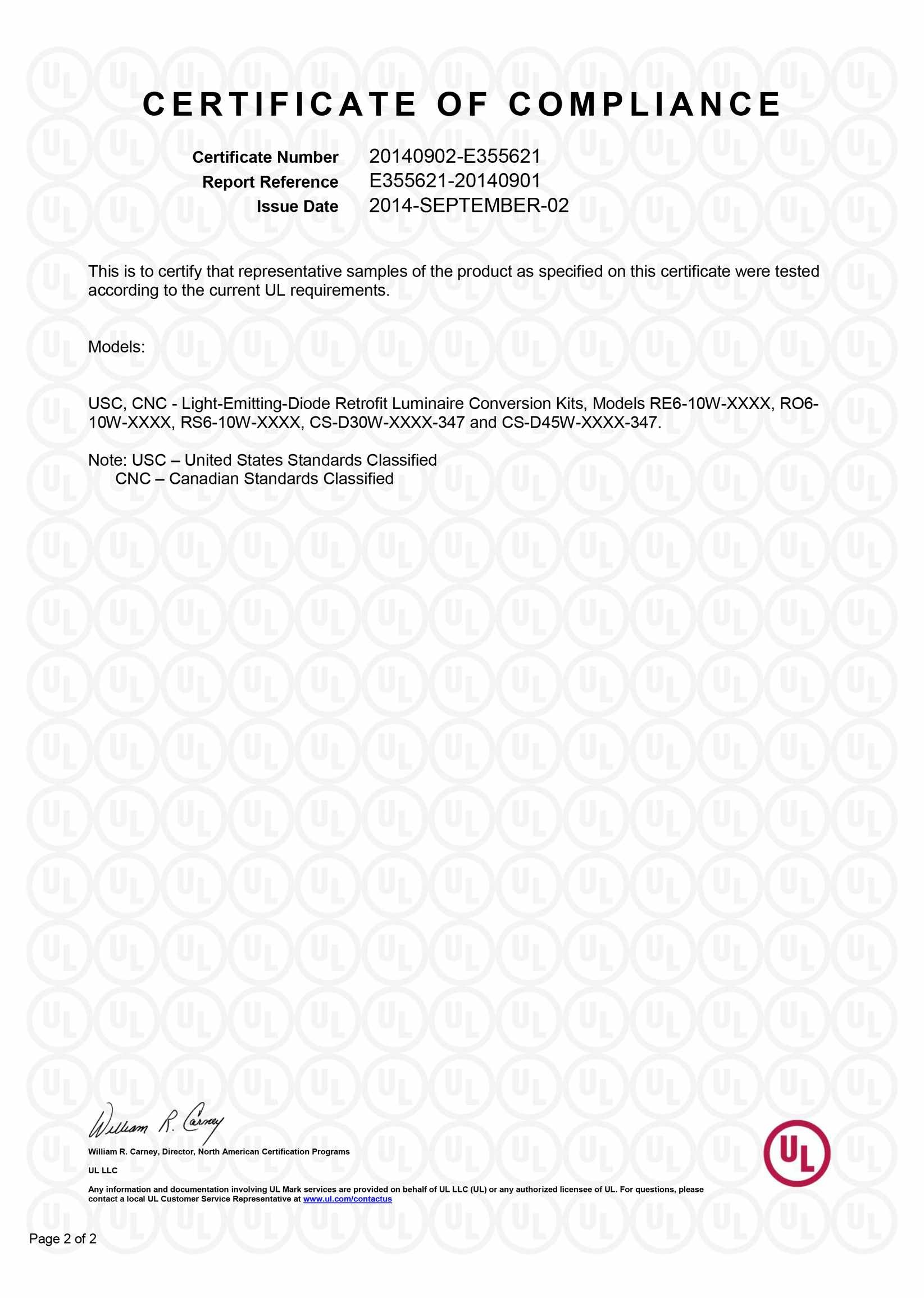 UL Certificate for RE6,RO6,RS6 series retrofit downligh and 347w commercial downlight