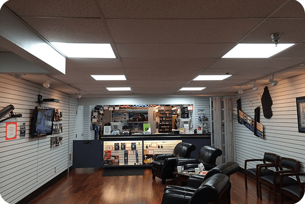 OKT 2X2FT LED Panel in Car Dealer Shop - Oregon