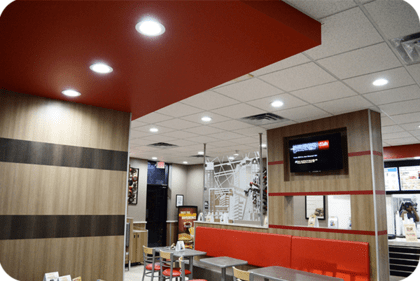 OKT 6inch led retrofit downlight in restaurant in Texas in 2014