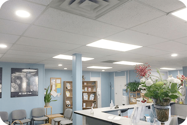 OKT led panel light and commercial downlight in hospital in Canada