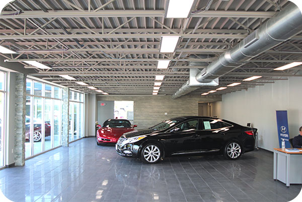 OKT 2x4ft led panel light in Hyundai Car Dealer Shop - Conneticut