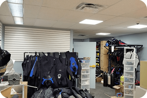 OKT recessed led panel light and T8 led tube in sports store-VC Canada