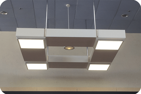 OKT 2X2FT Surface Mounted Panel light in shopping mall in conneticut