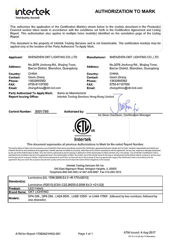 ETL Certificate for DP series linear panel light and HB series linear highbay