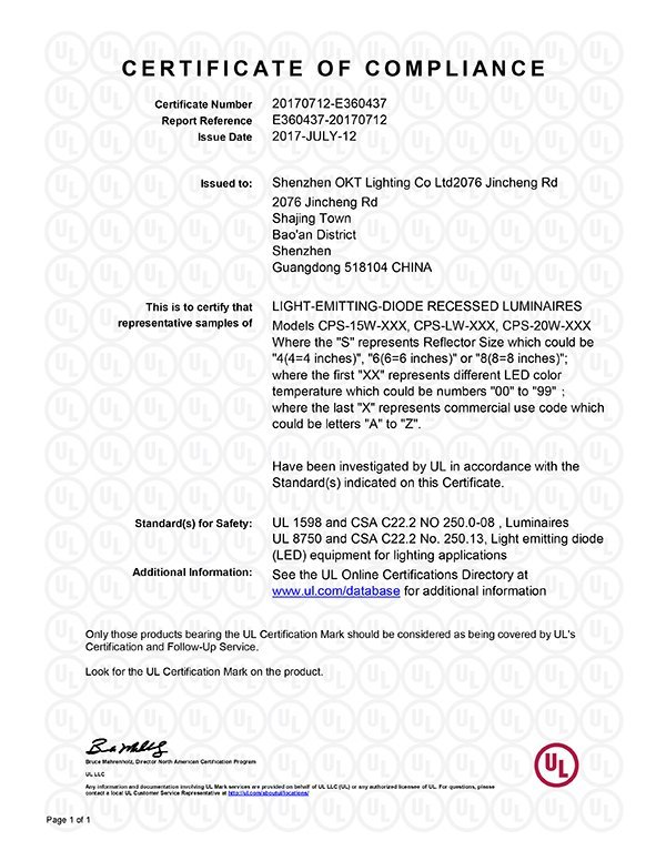 UL Certificate for CP series Split recessed led commerical downlight
