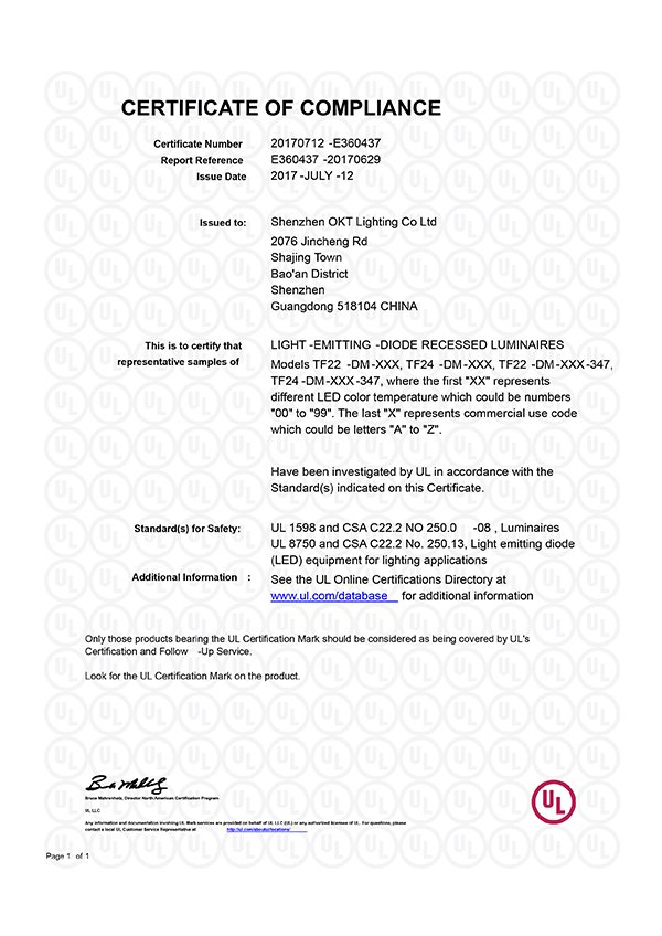 UL Certificate for TF Series Central basket LED Troffer